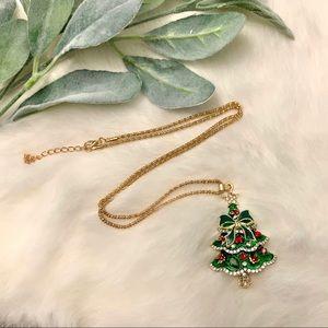 Rhinestone Embellished Christmas Tree Necklace